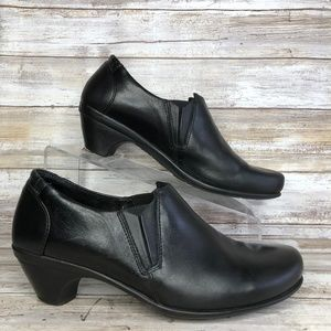 Naot 8M Black Leather Slip On Ankle Booties.